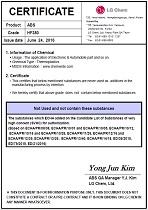 Certifikát bezpečnosť plastu ABS